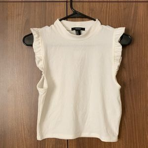Forever 21 Ribbed Ruffle Sleeve Mock Neck Top NWT